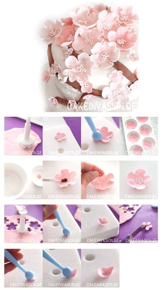 cupcake fondant flowers - pictures only, no link