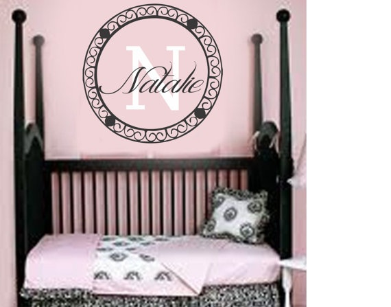 Best Wall Art Images On Pinterest Baby Names Initial Wall - Monogram vinyl wall decals for girls