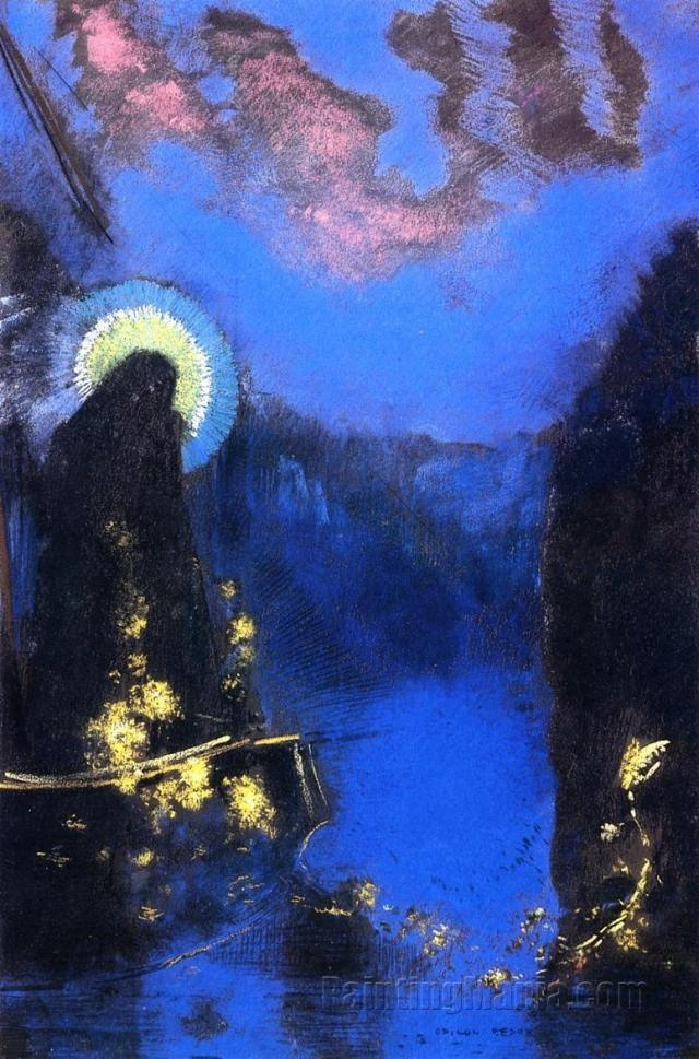 The Boat (Virgin with Corona) by Odilon Redon, ca.1897. Pastel | Van Gogh Museum, Netherlands