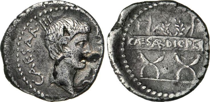 NumisBids: Numismatica Varesi s.a.s. Auction 65, Lot 138 : OTTAVIANO (42 a.C.) Denario, zecca itinerante. D/ Testa nuda R/...