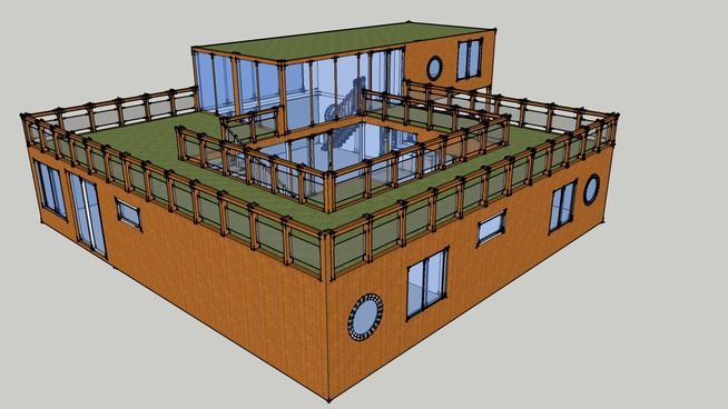 Shipping Container House with Courtyard - 3D Warehouse