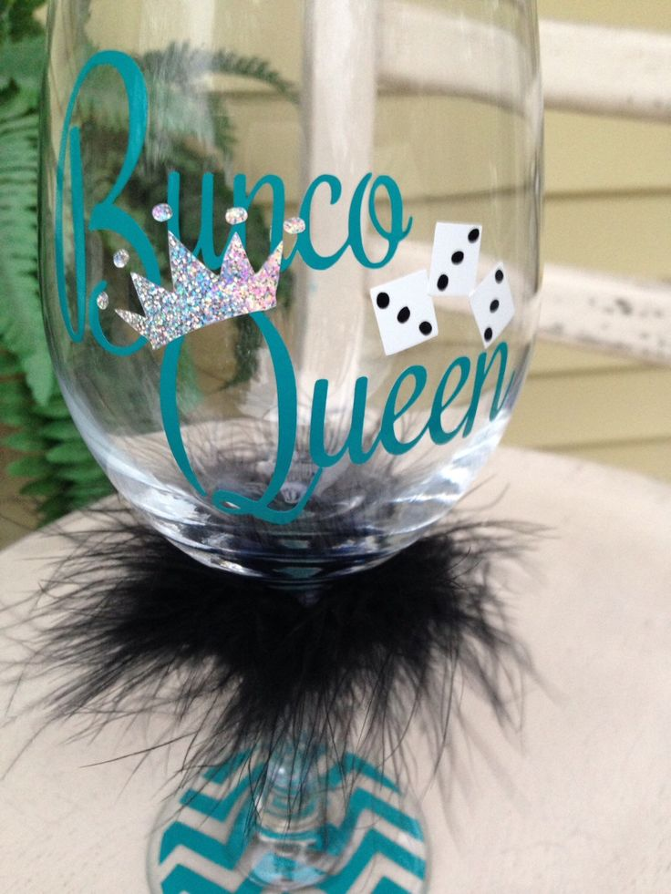 Bunco wine glass, Bunco Queen, wine glasses, Bunco party gift, gift for girlfriend, let's roll, secret santa gift, bunco party, personalize by MonogramRevolution on Etsy https://www.etsy.com/listing/209167159/bunco-wine-glass-bunco-queen-wine