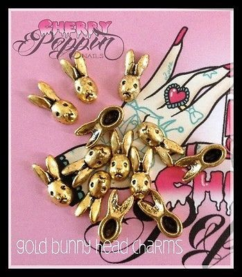 Gold Rabbit Head Nail Charms