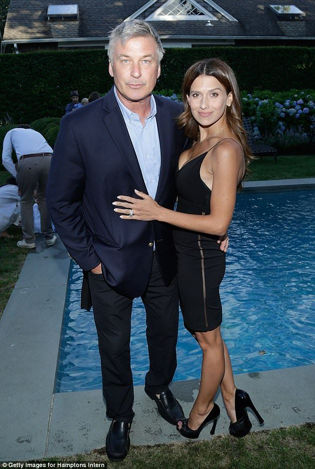 Night on the town: Alec Baldwin, 59, and wife Hilaria, 33, enjoyed a relaxing Saturday evening in the Hamptons attending a screening of the film Trophy