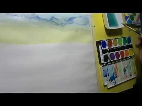 Acuarela paso a paso: Tecnica Acuarela seco sobre seco: Como Pintar con Acuarela una Playa Tropical. - YouTube