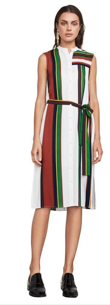 BCBG MAX AZRIA MADALYN STRIPPED DRESS SIZE MEDIUM #BCBGMAXAZRIA #ShirtDress