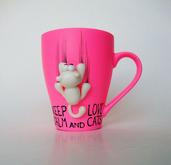 Cat Mug Keep Calm Hand Painted Coffee Mug Hot Pink by doodleNart