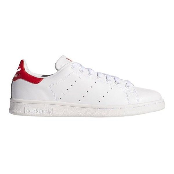 Adidas Originals Stan Smith Sneakers (€87) ❤ liked on Polyvore featuring shoes, sneakers, red trainers, red tennis shoes, white shoes, tennis sneakers and white lace up sneakers