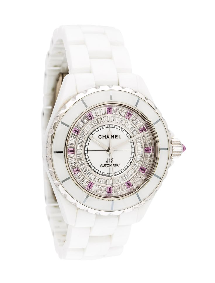18K white gold and ceramic 38mm Chanel J12 watch featuring an automatic movement, fixed bezel, matte white dial and link bracelet with double deployant clasp. Includes box, instruction manual and undated warranty