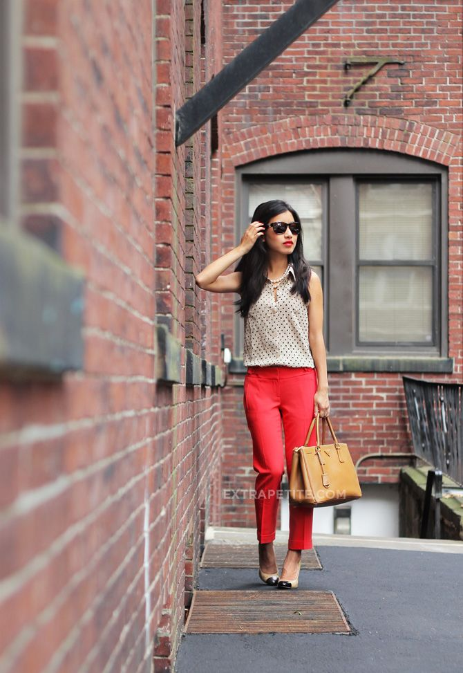 Transitional Summer: Red Pants, Camel + Cap Toe Pumps