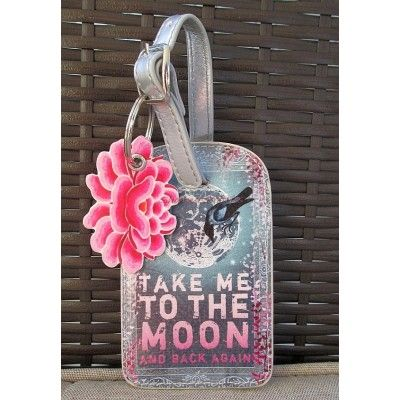 take me to the moon and back again papaya art luggage tag. Black Bedroom Furniture Sets. Home Design Ideas