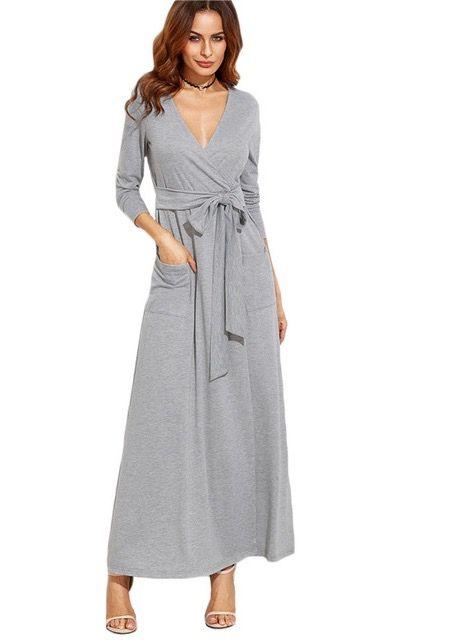 Gray Wrap Maxi Dress
