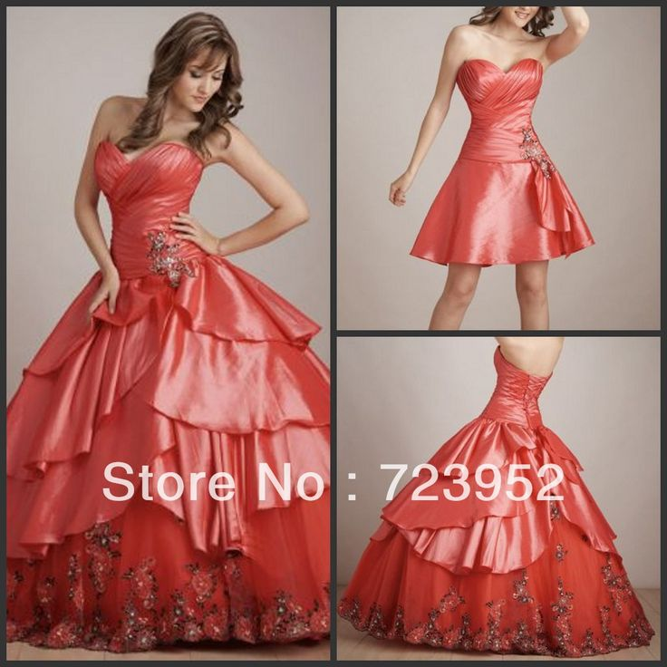 Detachable Skirt Sweet 16 Dresses | ... Sexy Sweetheart Beaded coral detachable skirts quinceanera dresses