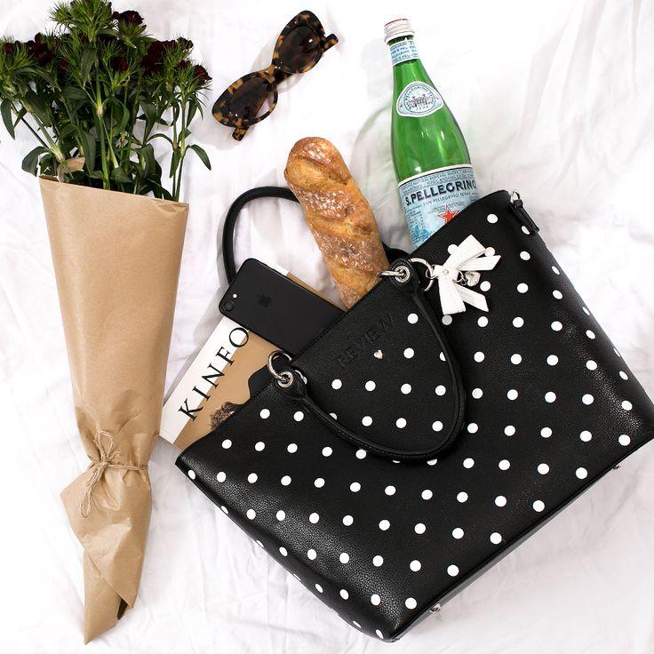 La Belle Tote Bag   Black and Cream