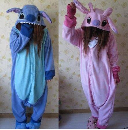 Adult Animal Kigurumi Pajamas Costume Cosplay Stitch Onesuit Blue Stitch Pink $38.99