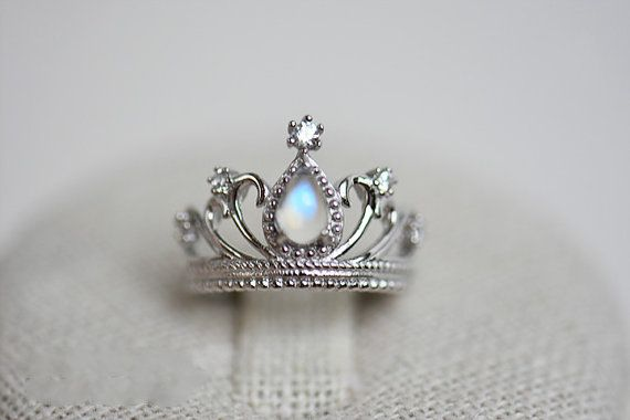 Pietra di luna blu anello arcobaleno corona anello Birthstone Moonstone argento anello Tiara anello placcato platino anello Princess anello regolabile