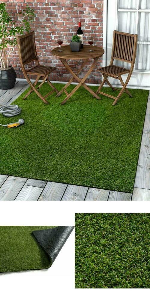 Indoor Outdoor Rug Faux Grass Carpet Turf 5 3 X7 3 Rubber Back Deck Patio Green Wwvproduct Faux Grass Grass Carpet Artificial Grass Patio