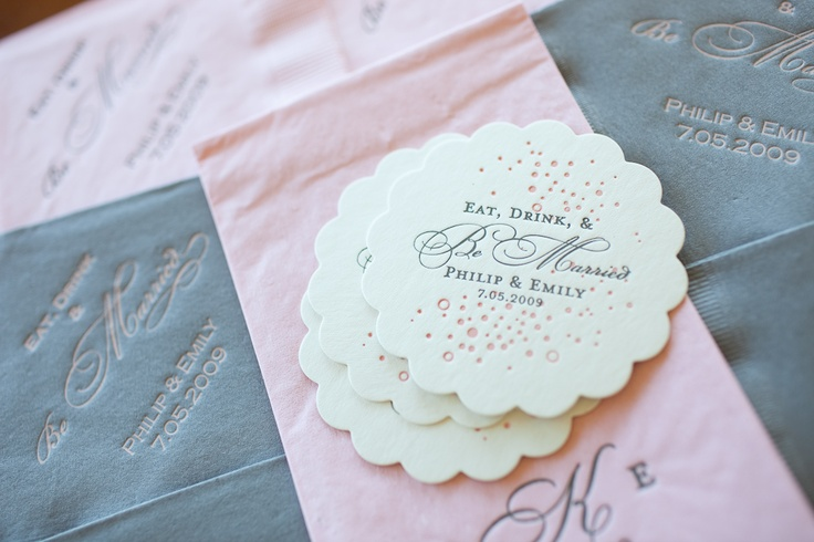 wedding coasters, napkins, and hand towels - custom designed at foryourparty.com