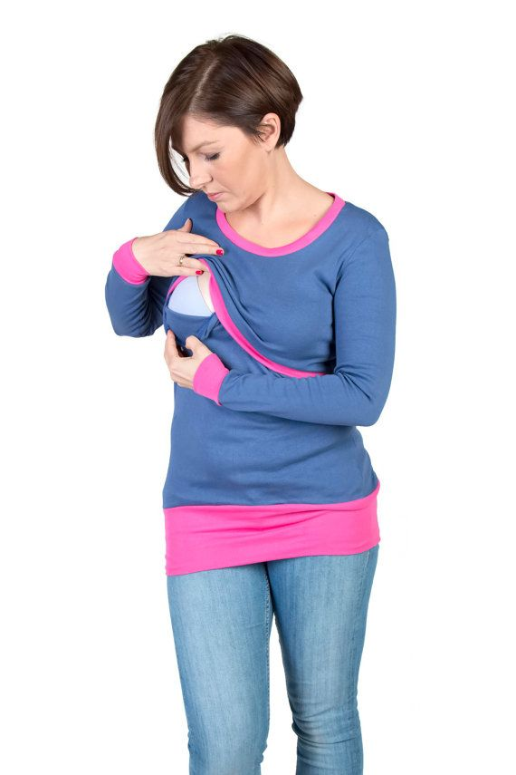 3 in 1 Maternity Pregnancy Sweatshirt Multifunctional Nursing Breastfeeding L/XL TUNIC TOP