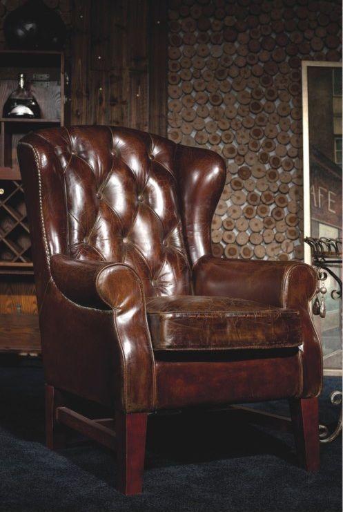 Chesterfield Vintage Echtleder Ohrensessel Ledersessel Design Lounge Sessel  446