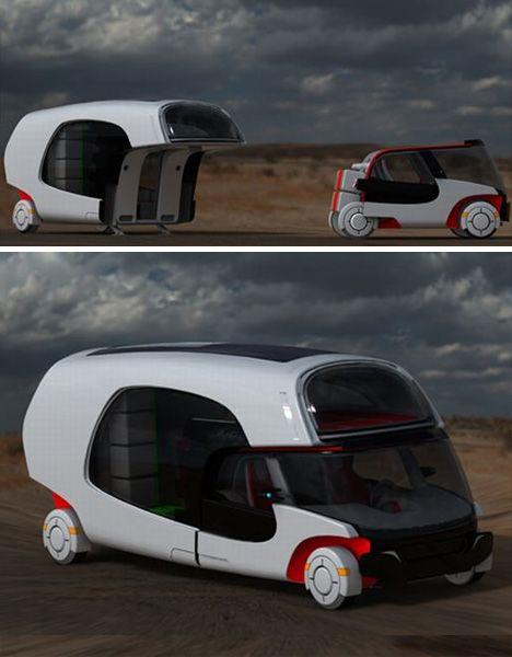 Modular Motorhome: Hybrid Camper Car + Caravan Combo   Designs & Ideas on Dornob