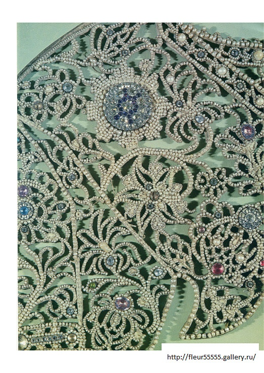 Detail of the embroidered framework for an icon. Russia - 19th century.