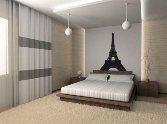 Modern Contemporary Bedroom Design with Eiffel Themes-Paris Romantic Bedroom Ideas