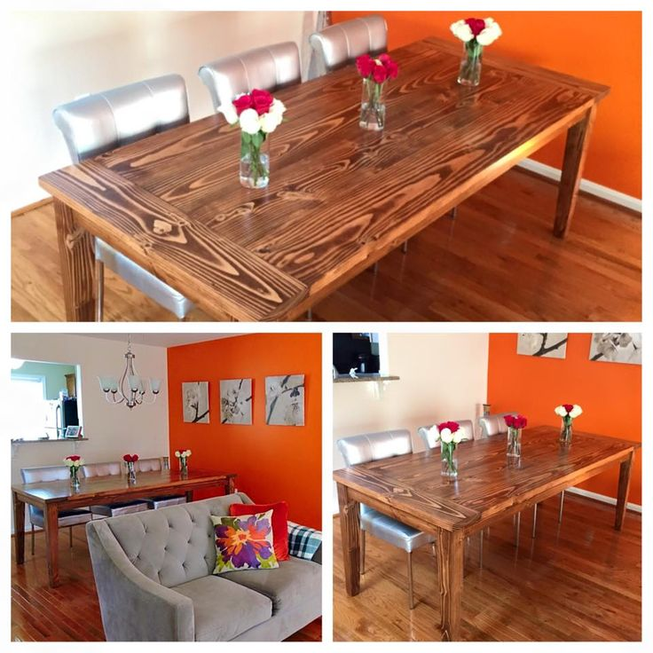 Solid wood farmhouse style table with breadboards and for Solid wood farm table