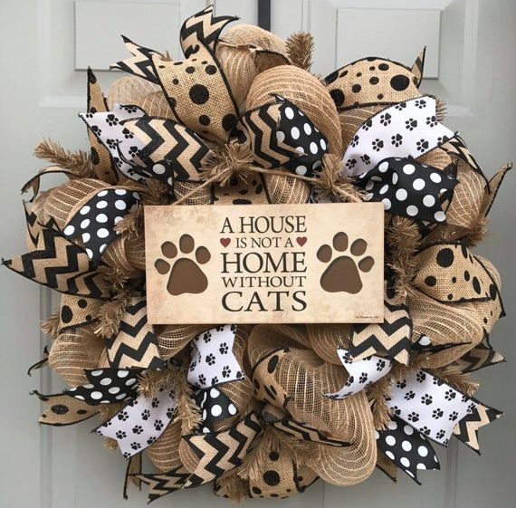 Cat Wreath Pet Decor A House Is Not A Home Without Cats Crazy