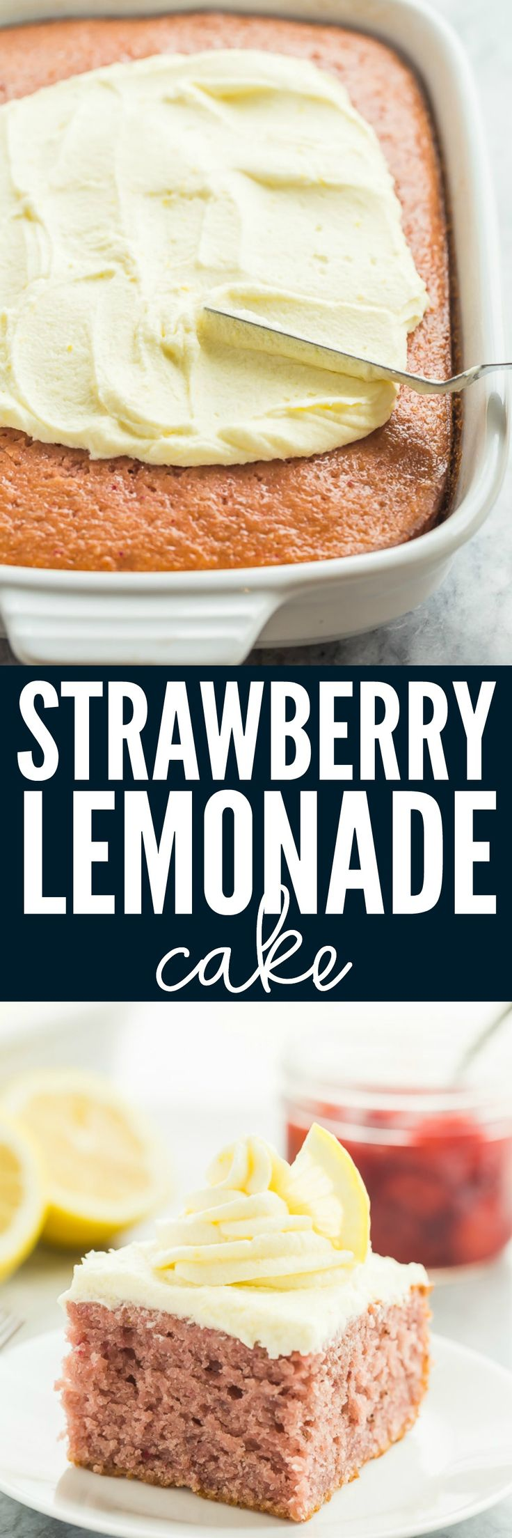 This Strawberry Lemonade Cake Recipe is the ultimate dessert for your summer cookout or barbecue! A moist strawberry cake is topped with a creamy lemon frosting -- it's fresh and fruity and made with real strawberries! Easy to make ahead and freezer friendly.