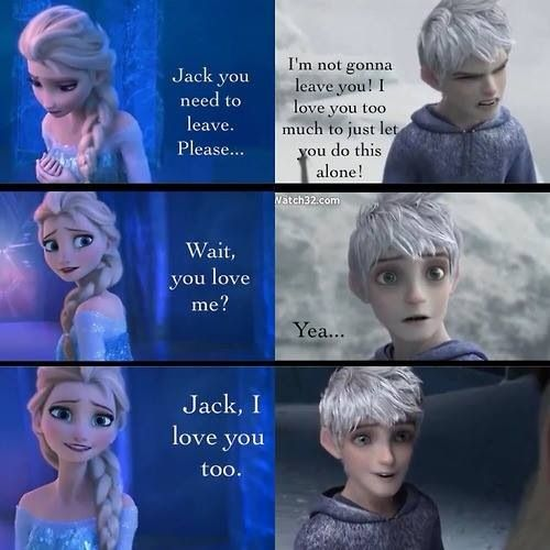 Jack Frost and Queen Elsa Jelsa i dont know why this is funny but it is