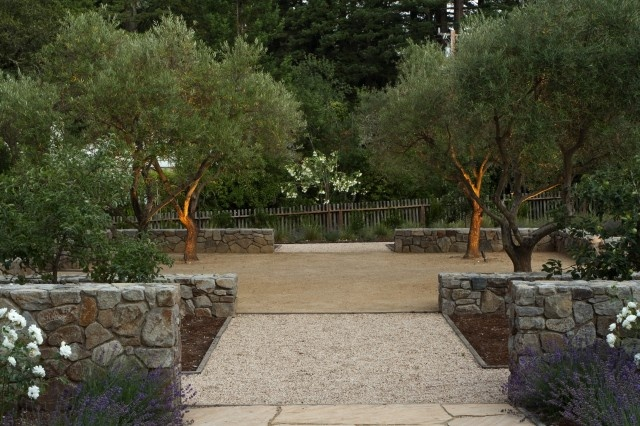 decomposed granite, mixed color stones and olive trees.