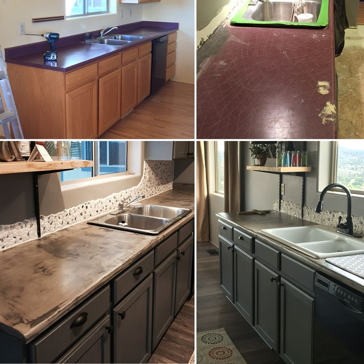 Painted The Oak Cabinets And Then Did Concrete Over The