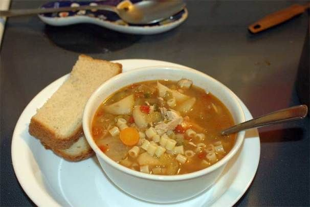 Copycat Carrabba's spicy chicken soup, cut the recipe in half and cooked it in the crock pot everyone loved it