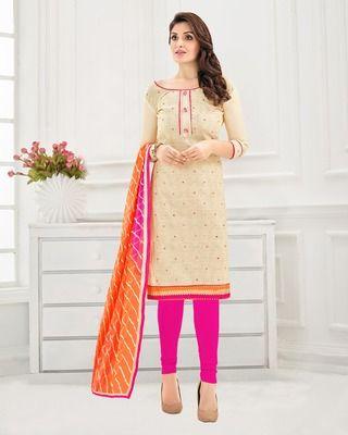 5e86853c10 Cream embroidered chanderi unstitched salwar with dupatta | Dresses ...