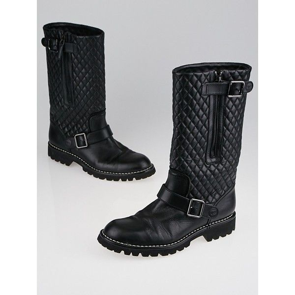 Pre-owned Chanel Black Quilted Leather Motorcycle Boots ($495) ❤ liked on Polyvore featuring shoes, boots, moto boots, black engineer boots, black shoes, black quilted boots and black biker boots