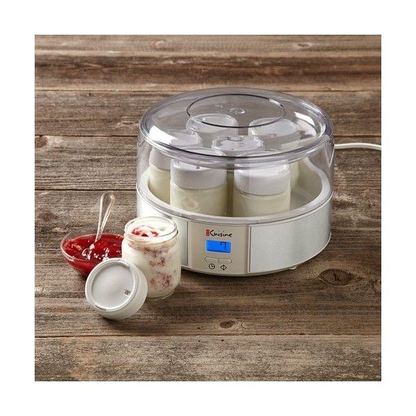 Automatic Yogurt Maker (410 SEK) ❤ liked on Polyvore featuring home, kitchen & dining, small appliances, glass milk jars, milk jar, glass jars, euro cuisine yogurt maker and electric yogurt maker