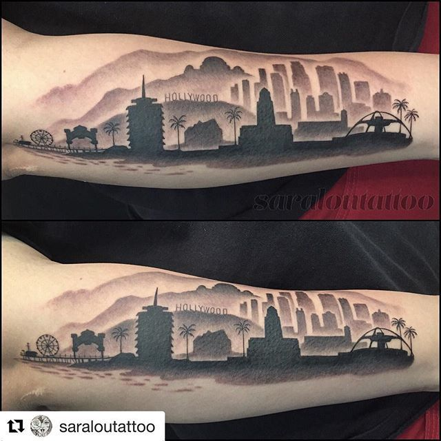 Repost Saraloutattoo Get Repost Los Angeles Skyline For Maritza With Particular Structures That Skyline Tattoo Los Angeles Skyline California Tattoo