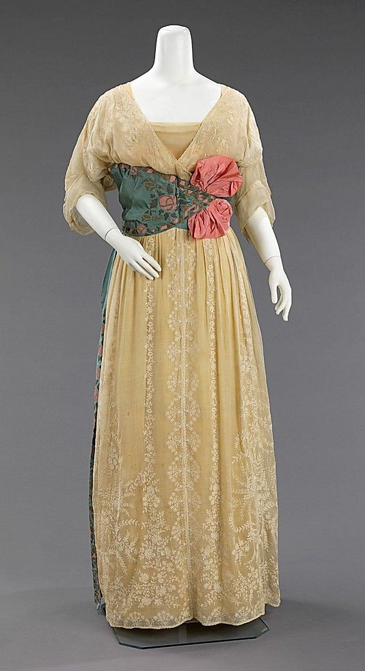 Mme. Jeanne Paquin, Shepherdess-Style Evening Dress, French, 1912. (Front View)