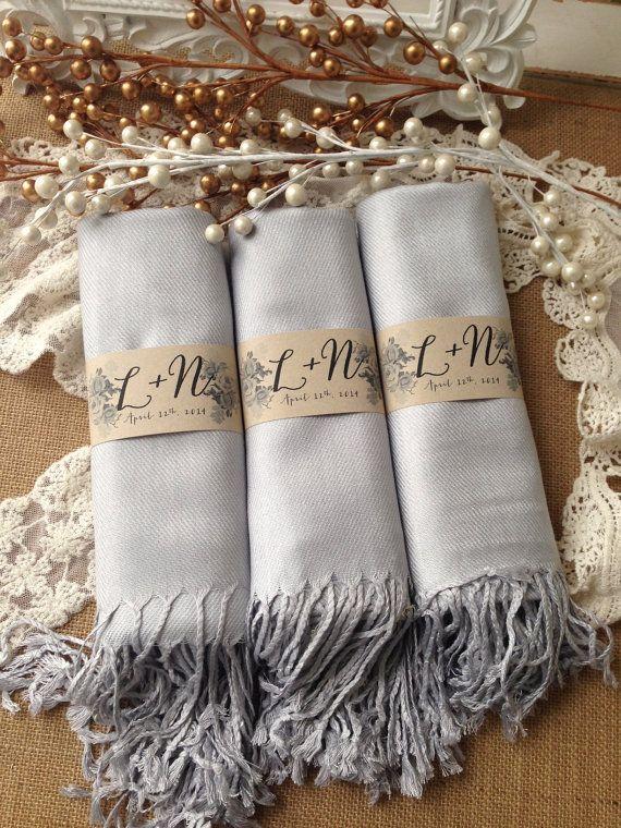 Set of 4 Custom Grey/Silver Shawls, Pashmina, Scarf, Shawl, Wedding Favor, Bridal Shower Gift, Bridesmaids Gift, Wrap, Welcome Bags & More