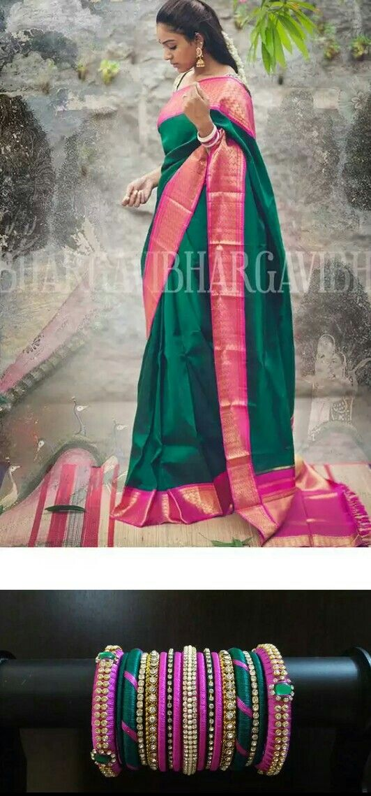 Green saree with pink border definitely everyone love this saree