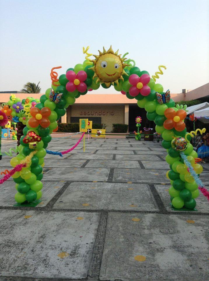 189 best images about balloon arches columns for Decoracion primavera infantil