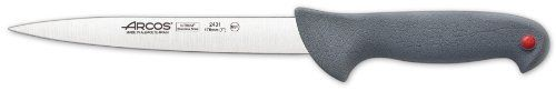 Arcos Color Prof 7-Inch Slicing Knife by Arcos. $20.00. Arcos exclusive Nitrum stainless steel formula enriched with nitrogen for added hardness and long-lasting sharpness. Soft and ergonomic non-slippery handle with color-coded identification system; NSF approved. Made in Spain by Arcos, a leading European knife manufacturer with traditions stretching back to 1745. Commercial-quality 7-inch slicing knife--for use by professional or home chefs. Dishwasher safe, hand washing rec...