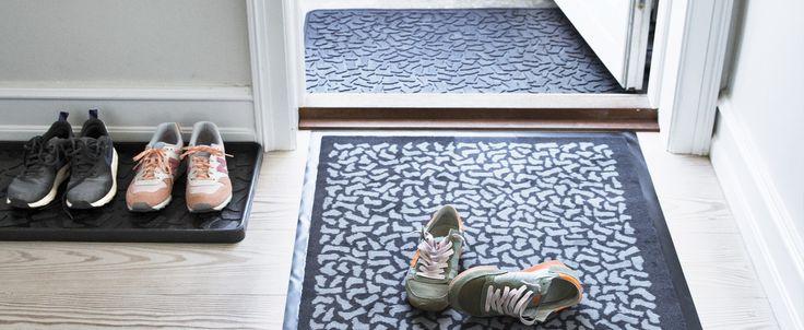Welcome home! tica copenhagen shoe tray, floor mat and door mat all in shoe wear design. 50% recycled rubber boot trays.
