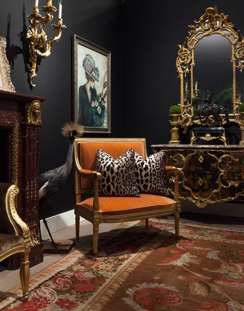 Charcoal Walls, Orange Velvet French Settee, and Scalamandre Leopard Pillows.
