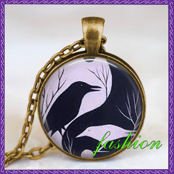 Ворон инь ян ожерелье, черный белый инь ян подвеска, китайский инь ян ювелирные изделия дзен ожерелье, стеклянный купол ожерелье, искусство подвеска