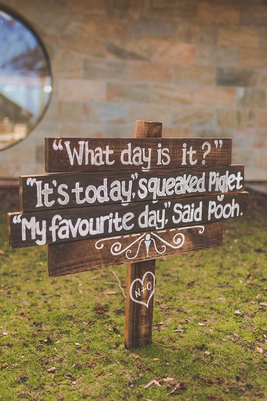 Cute winnie the pooh wedding sign quote. Photo copyright Sam & Louise Photography www.samandlouise.co.uk