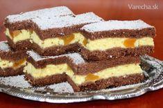 Krehký tvarohový koláč s broskyňami - Recept
