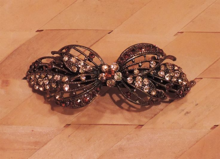Gold Brown Butterfly Hair Clip