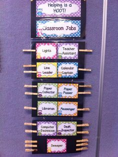 Classroom jobs clip chart made using Donna Coleman's polkadot owl pack from TpT :)